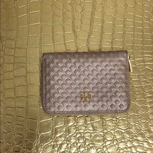Tory Burch small quilted rose gold wallet